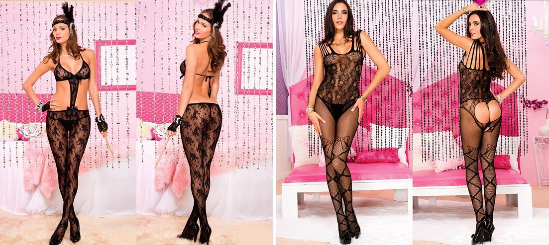Эстетичная девушка в эротическом нижнем белье - кружевные черные трусики стринг
