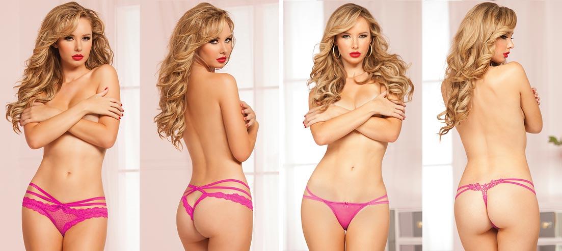 Живописная девушка в эротическом нижнем белье - ажурные розовые трусики танга