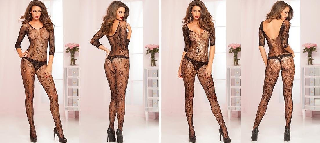 Живописная девушка в эротическом нижнем белье - атласные черные трусики слип
