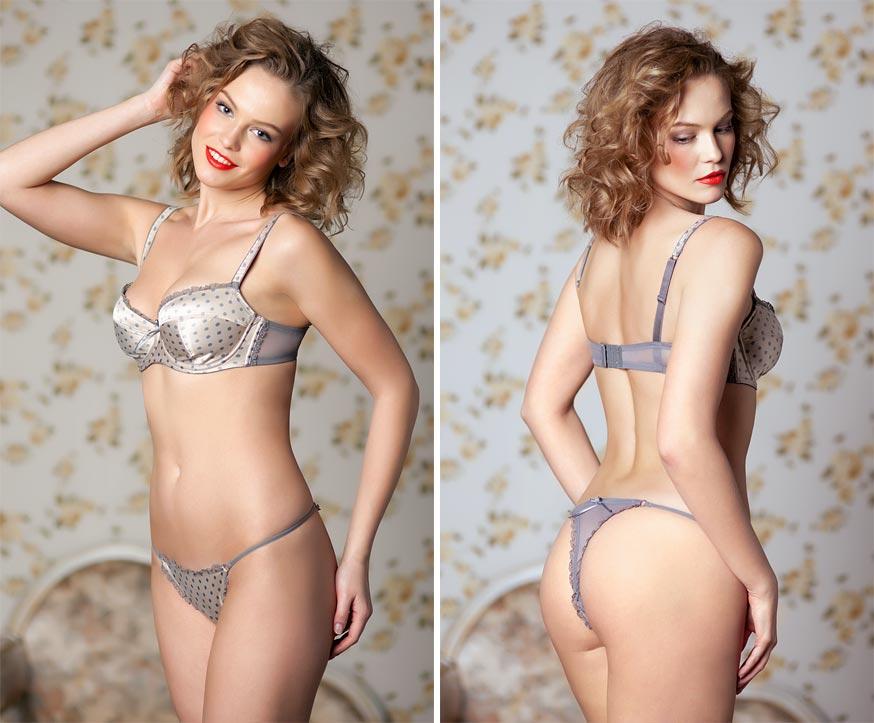 Кружевной вариант нижнего белья на эстетичной девушке - закрытые трусики с пикантными разрезами