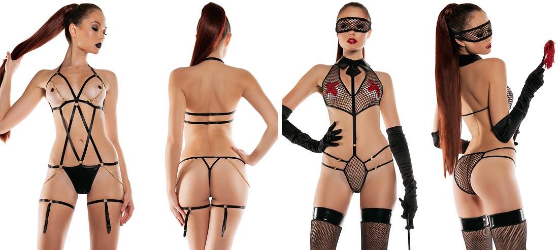 Атласный комплект нижнего белья на изысканной девушке: открытые бесшовные трусы кюлот