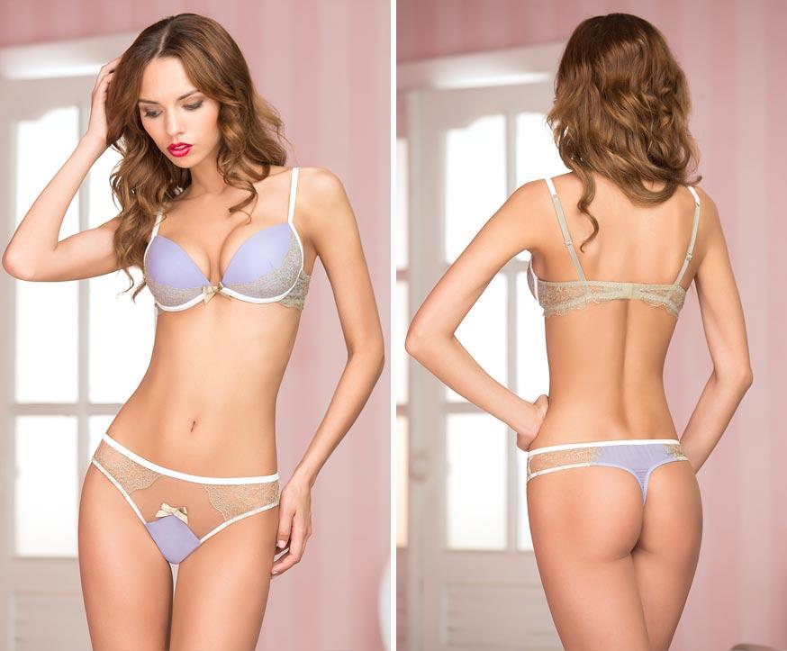 Сексуальный комплект нижнего белья на элегантной девушке - открытые трусы-стринги