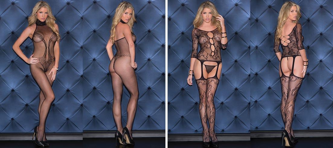 Бесподобная девушка в прозрачном нижнем белье - ажурные черные трусики слип