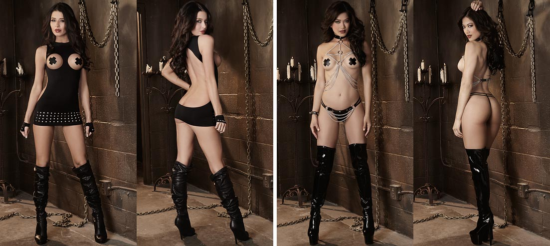 Стройная девушка в прозрачном нижнем белье - атласные черные трусики танга