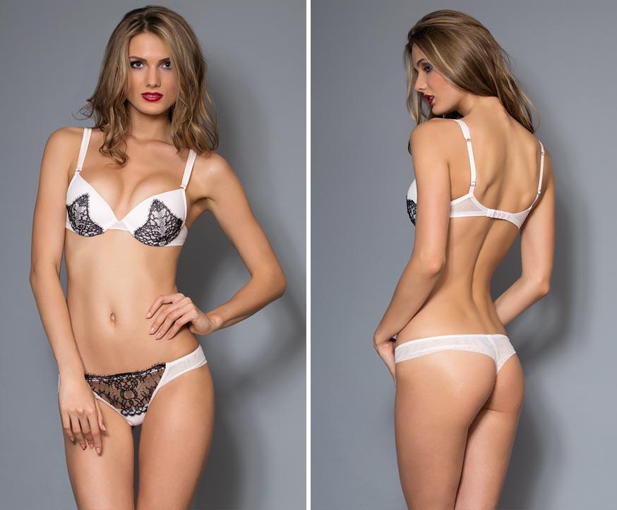 Прозрачный комплект нижнего белья на изумительной девушке - максимально открытые трусики с вышивкой