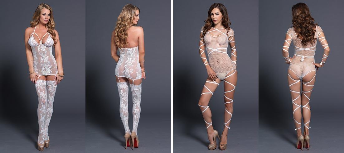 Умопомрачительная девушка в эротическом нижнем белье: кружевные белые трусики танга