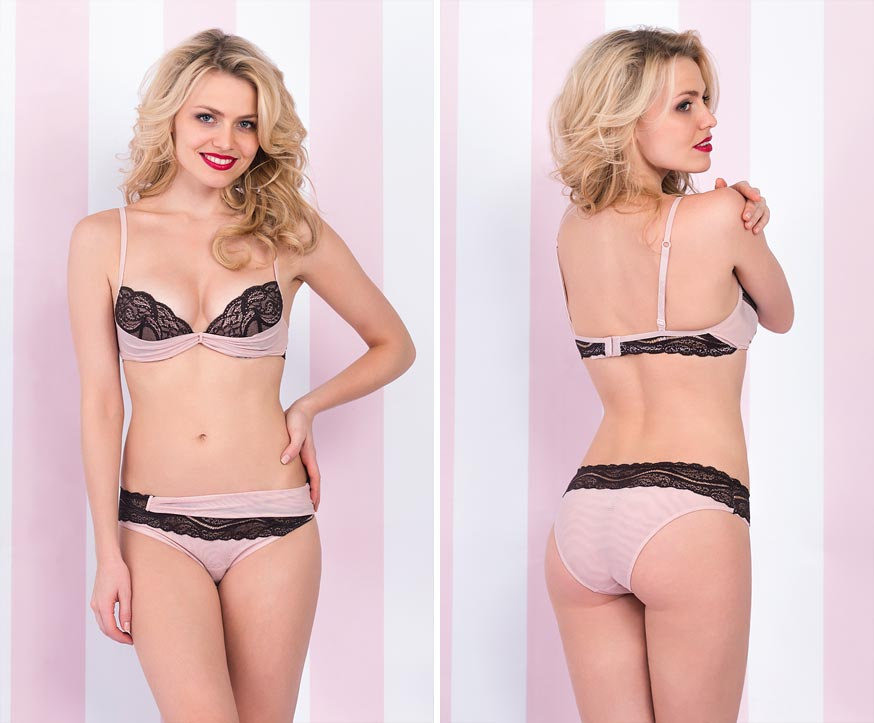 Прозрачный эротический комплект нижнего белья на желанной девушке - эластичные трусы