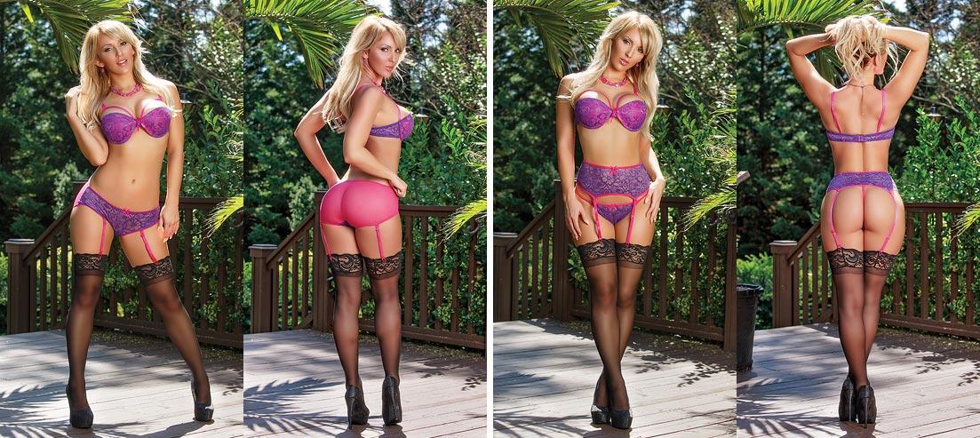 Экстравагантная девушка в нижнем белье: ажурные фиолетовые трусики стринг