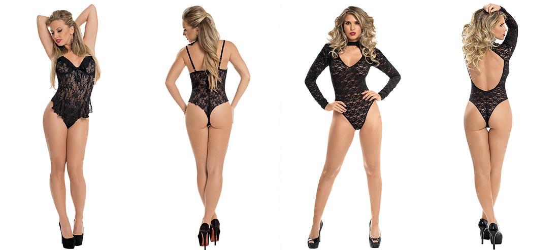 Женщина показывает прозрачное нижнее белье, элегантные трусики