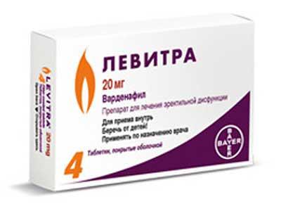 Упаковка 20 мг таблетки Левитра